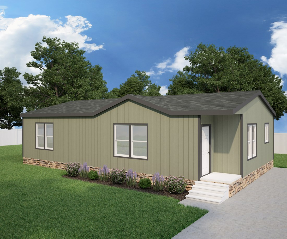 The DRM441F 44' DREAM Exterior. This Manufactured Mobile Home features 2 bedrooms and 2 baths.