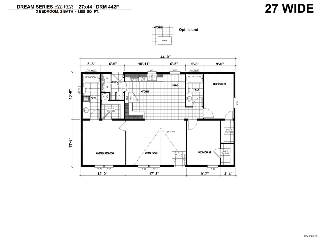 The DRM442F 44' DREAM Floor Plan