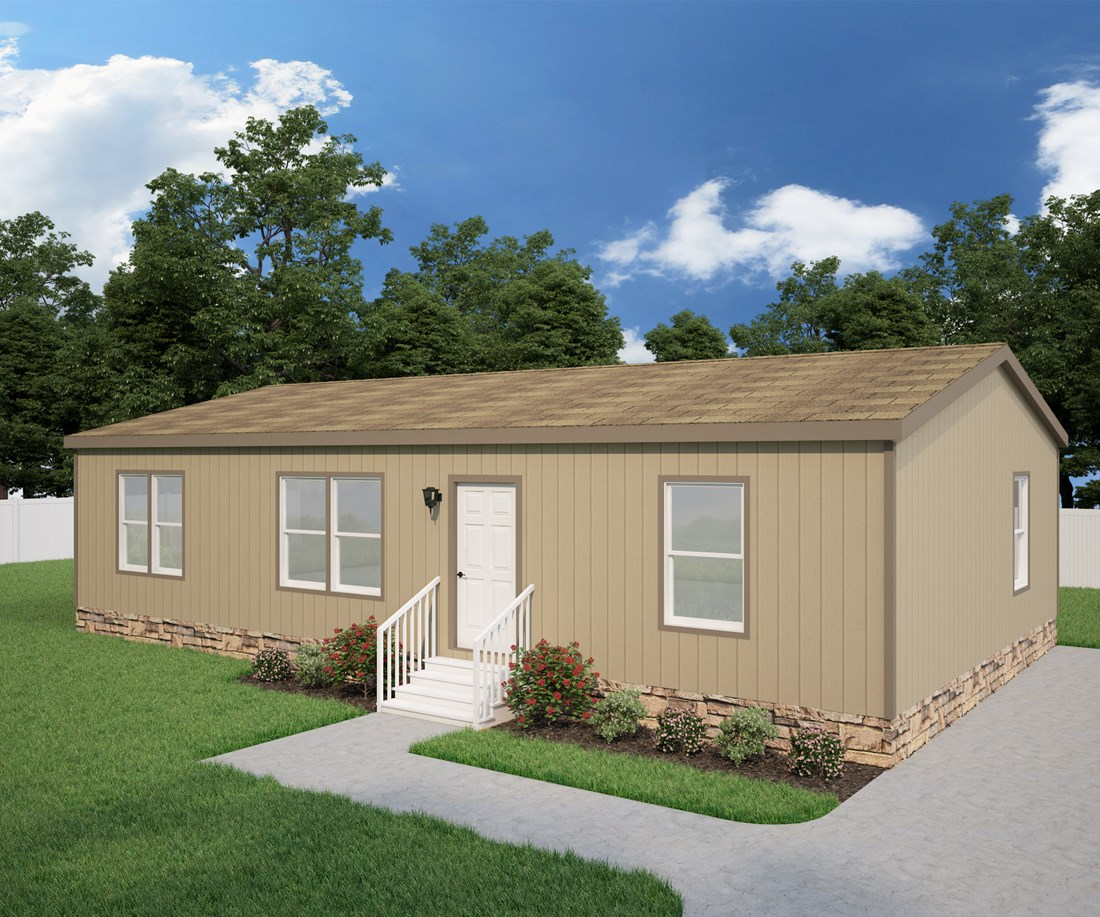 The DRM442F 44' DREAM Exterior. This Manufactured Mobile Home features 3 bedrooms and 2 baths.