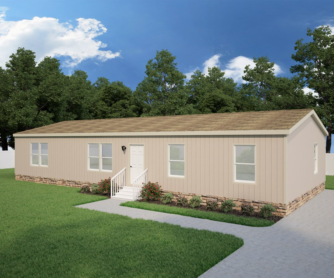 The PREFERRED PLUS CP601F Exterior. This Manufactured Mobile Home features 3 bedrooms and 2 baths.