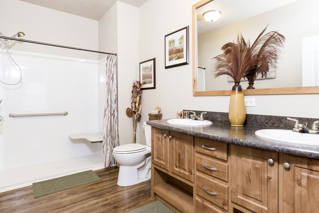 The PREFERRED PLUS CP522F Master Bathroom. This Manufactured Mobile Home features 3 bedrooms and 2 baths.