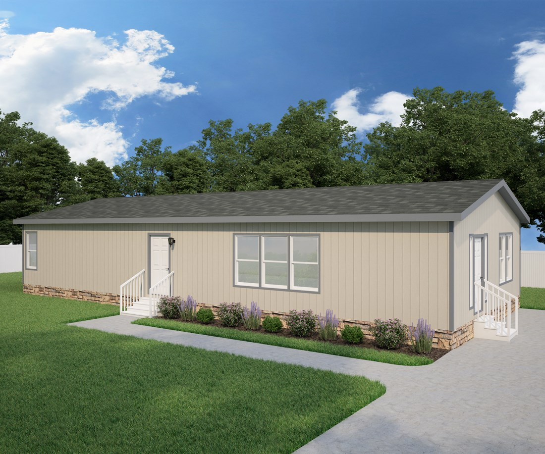 The DRM601F 60' DREAM Exterior. This Manufactured Mobile Home features 4 bedrooms and 2 baths.